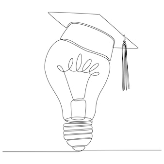 Continuous line drawing of lamp with graduation cap vector