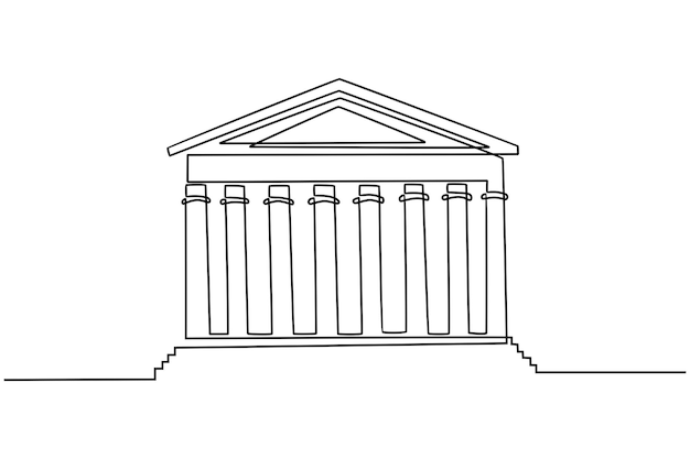 Continuous line drawing law house vector illustration