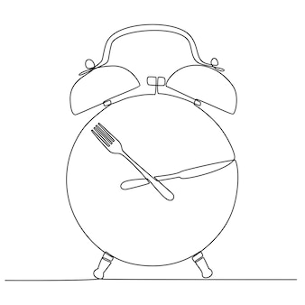 Continuous line drawing of lunch concept clock vector illustration