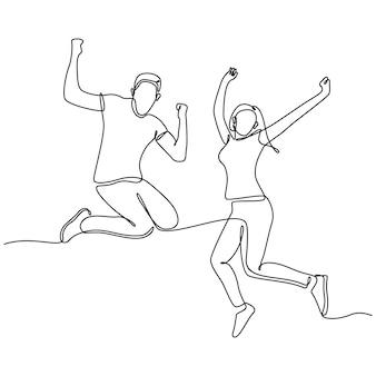 Непрерывный рисунок линий мужчина и женщина пара прыгают от радости концепция вектора радости