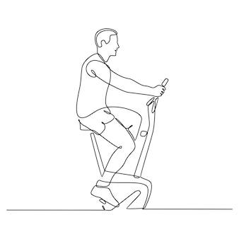 Continuous line drawing of a man riding a stationary bicycle vector illustration