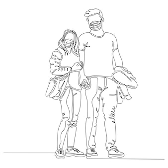 Continuous line drawing of man and woman wearing masks vector