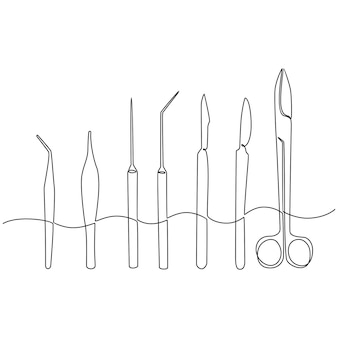 Continuous line drawing of medical equipment medical scissors vector illustration