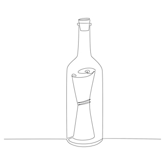 Continuous line drawing of message in bottle vector illustration