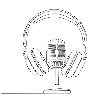 Continuous line drawing of microphone and headphone vector illustration