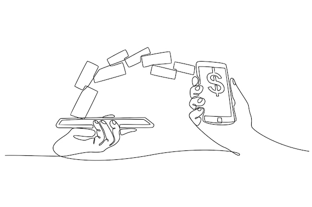 Continuous line drawing of mobile wallet transfer vector illustration