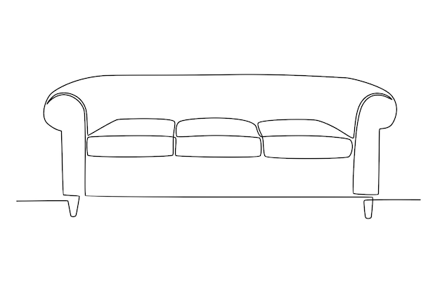 Continuous line drawing of modern sofa seating vector illustration