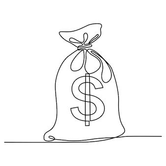 Continuous line drawing of money bag currency symbol investment icon banking sign
