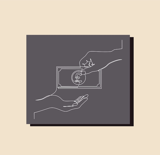 Continuous line drawing of money bag,  pound sterling symbol