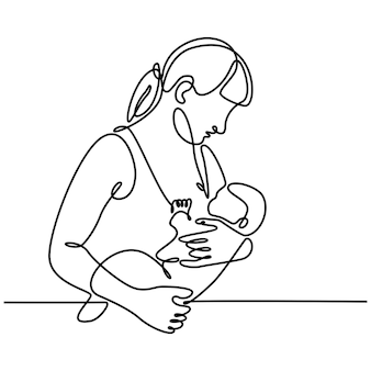 Continuous line drawing of a mother breastfeeding her newborn baby vector illustration