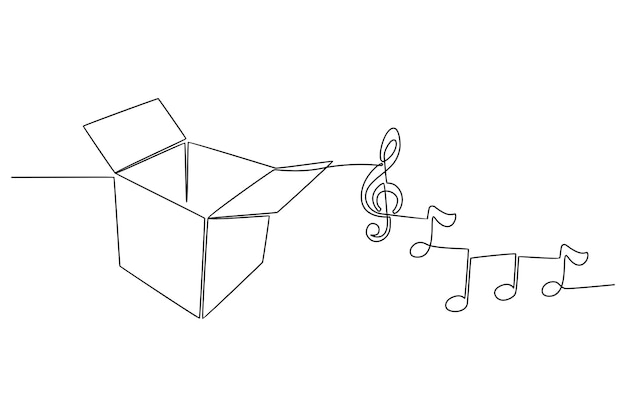 Continuous line drawing of music box vector illustration