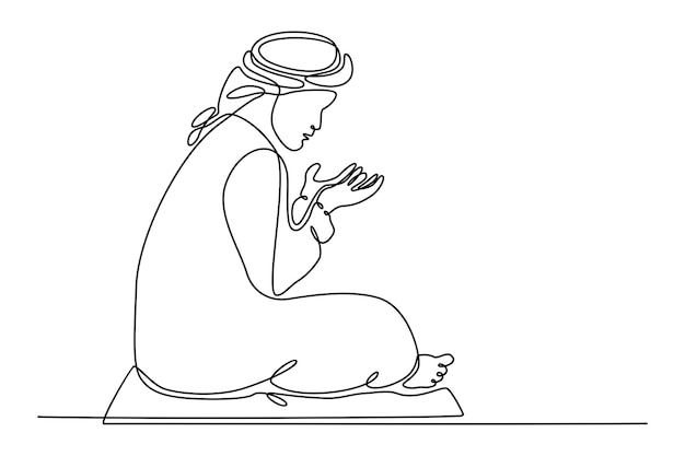 Continuous line drawing of muslim doing ramadan prayer concept vector illustration