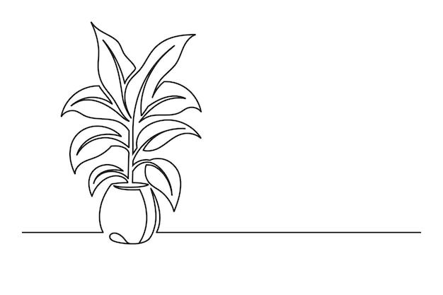 鉢植えの花の連続線画