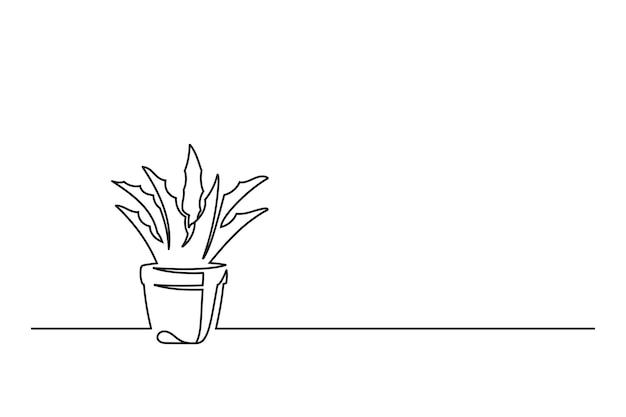 냄비에 꽃의 연속 선 그리기
