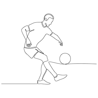 Непрерывный рисунок линии футболиста, изолированные на белом фоне вектор