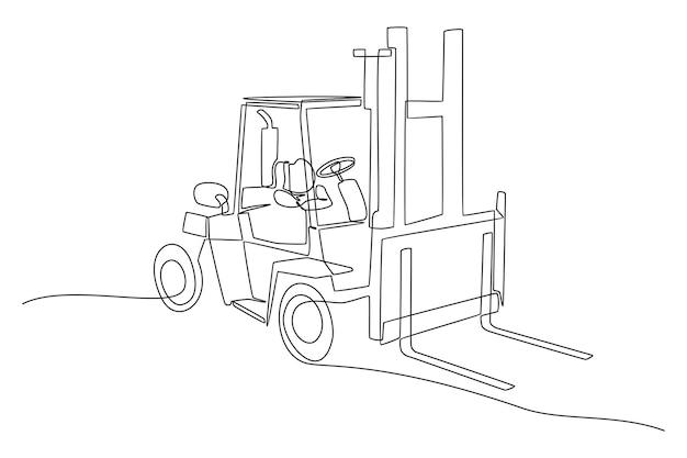 Непрерывный рисунок линии вилочного погрузчика векторные иллюстрации