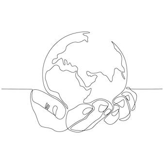 地球のベクトル図と手の連続線画