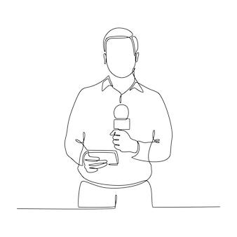 Непрерывный рисунок журналиста, ведущего прямую трансляцию, векторная иллюстрация
