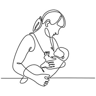 Непрерывный рисунок линии матери, кормящей грудью своего новорожденного ребенка, векторная иллюстрация