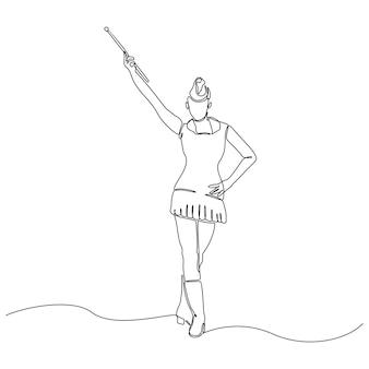 Непрерывный рисунок женщины с палкой векторные иллюстрации