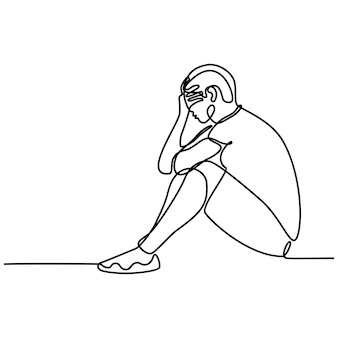 白い背景のベクトル図に孤立した悲しい感じの若い男の連続線画