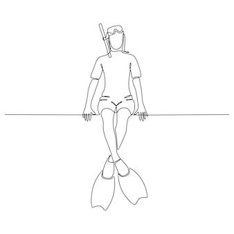 흰색 배경 벡터에 격리된 다이빙 장비를 가진 젊은 여성의 연속 선 그리기