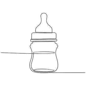 Непрерывный рисунок линии детской бутылки молока векторные иллюстрации