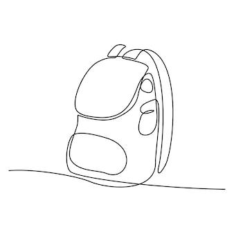 バックパックのベクトル図の連続線画