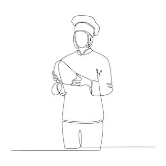 パンのベクトル図を運ぶパン屋の女性の連続線画