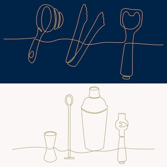 Непрерывный рисунок линии оборудования бармена векторные иллюстрации