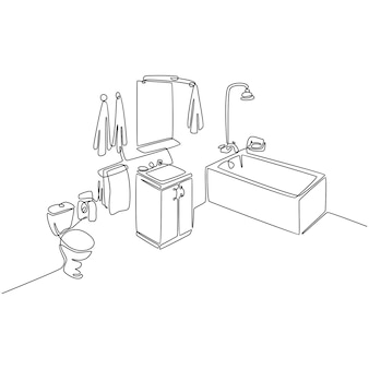 バスルームセットベクトルイラストの連続線画