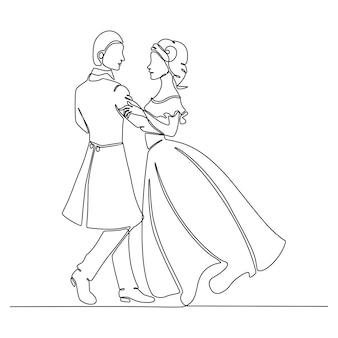 Непрерывный рисунок линии мальчика и девочки танцуют векторные иллюстрации