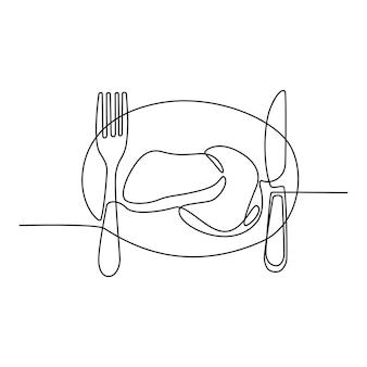 フォークとナイフのベクトル図を添えて朝食メニューの肉の連続線画