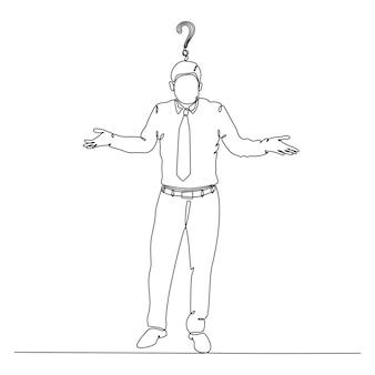 Непрерывный рисунок линии бизнесмена с вектором вопросительного знака