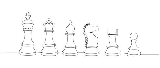 Непрерывный рисунок линии шахматной фигуры векторные иллюстрации