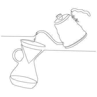 Непрерывный рисунок линии кофеварки бариста векторные иллюстрации