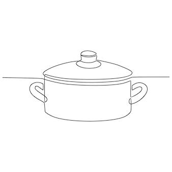 Непрерывный рисунок линии приготовления горшок векторные иллюстрации