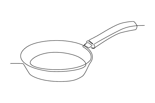 料理のフライパンのベクトル図の連続線画