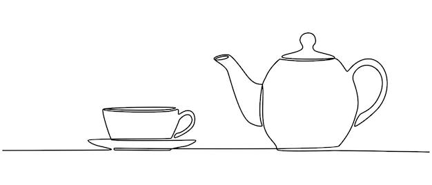 カップとティーポットのベクトル図の連続線画