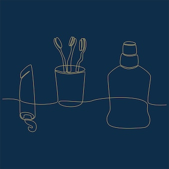 Непрерывный рисунок линии стоматологического чистящего оборудования векторная иллюстрация