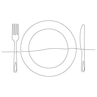 칼과 포크가 있는 저녁 식사 접시의 연속 선 그리기 칼 붙이와 접시의 낙서 스케치