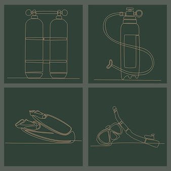Непрерывный рисунок линии водолазного оборудования векторные иллюстрации