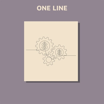 Непрерывный рисунок линии доллара и колеса шестерни