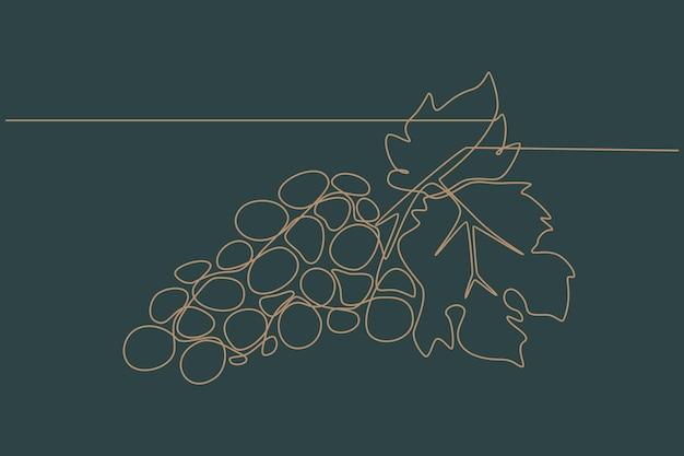 ブドウの連続線画ベクトル図
