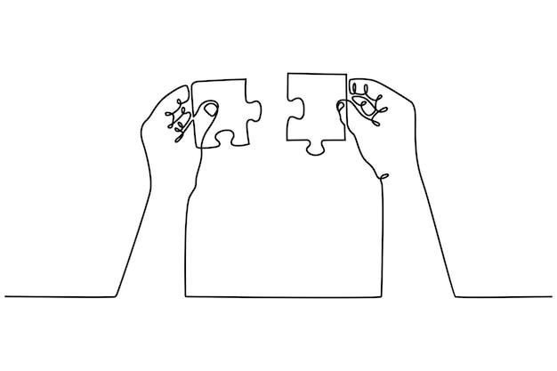 Непрерывный рисунок рук, объединяющий две части концепции сотрудничества головоломки