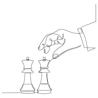 Непрерывное рисование линий рук, держащих фигуру шахматной фигуры и выбивающих ферзя Premium векторы