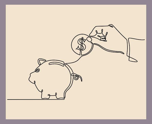 동전과 돼지 저금통 통화 절약 개념으로 손의 연속 선 그리기
