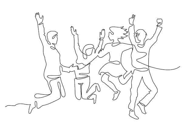 Непрерывный рисунок линии счастливой команды людей прыгает радость. люди прыгают в одну линию, непрерывный рисунок четырех прыгающих счастливых членов команды