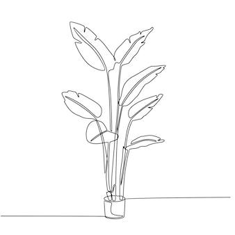 観葉植物のベクトル図の連続線画