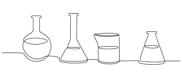 実験室のボトルのベクトル図の連続線画